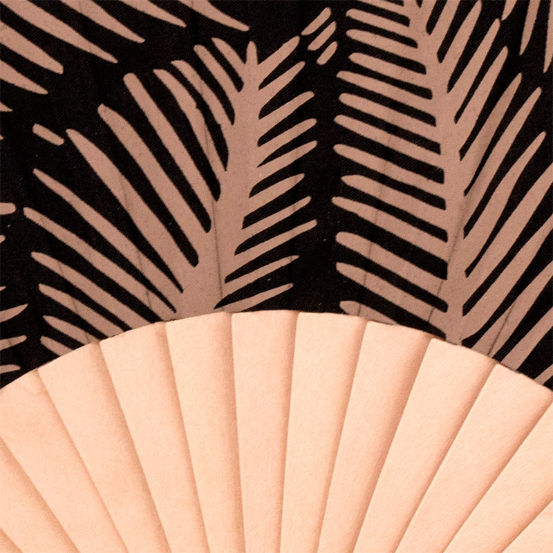 Abanico de madera y tela para boda. Modelo Hojas. 3 colores. 23cm