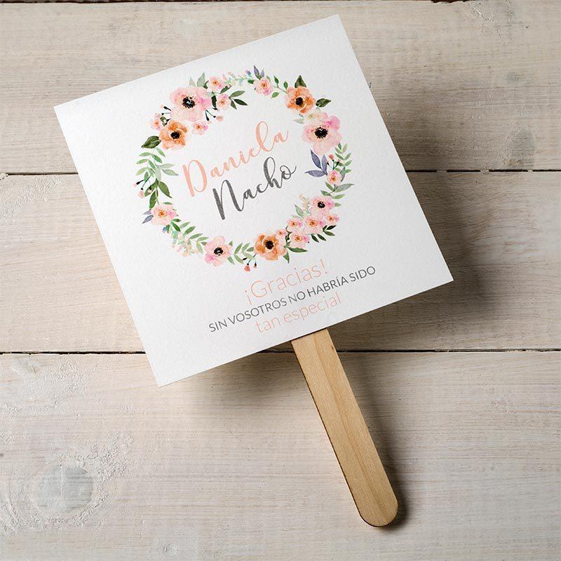 Abanico de papel para boda. Corona de flores. Personalizable.
