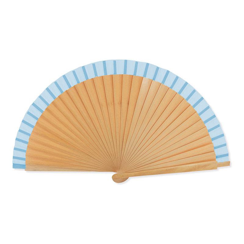 Abanico de madera lacada. 3 colores. 23cm. abanico con varillas lacadas azul