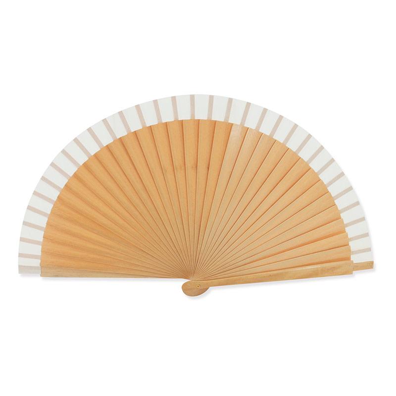 Abanico de madera lacada. 3 colores. 23cm. abanico con varillas lacadas bl
