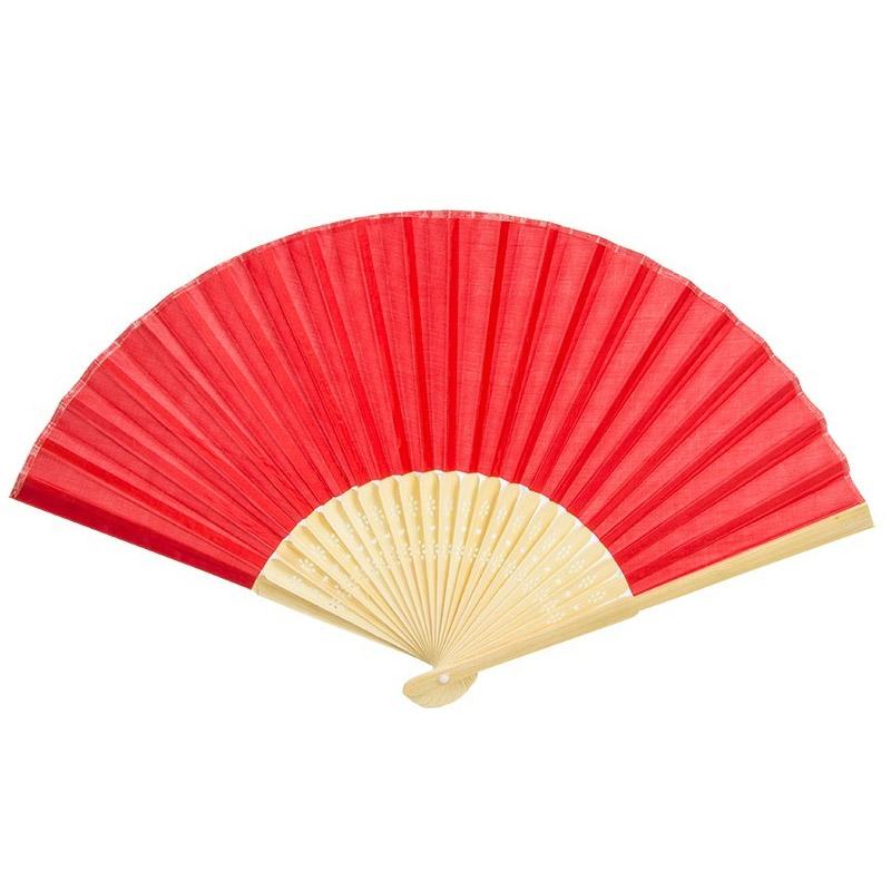 Abanico de madera para bodas. Bambú. Color rojo.