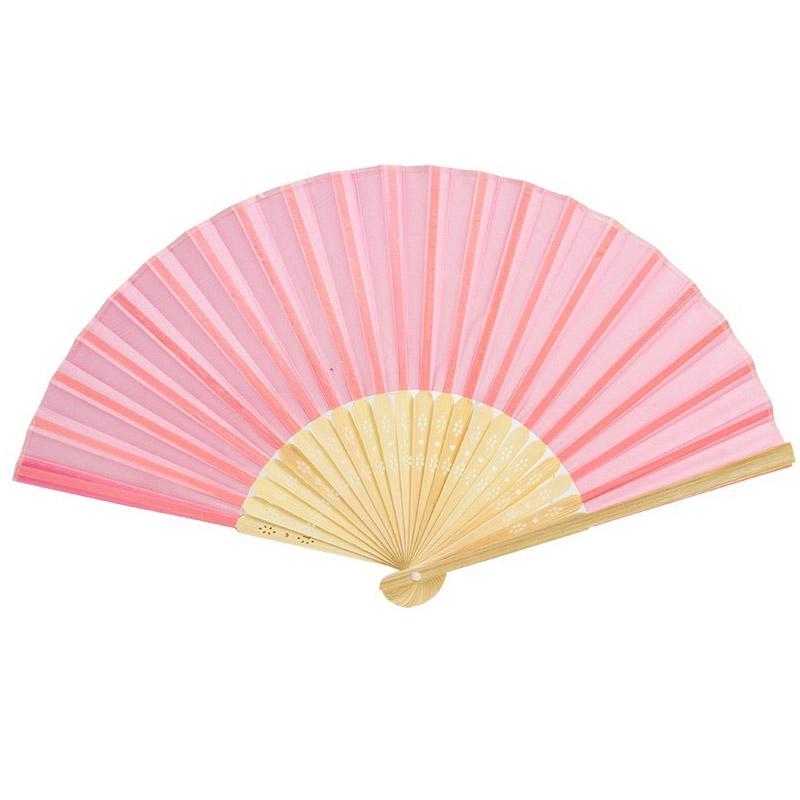 Abanico de madera para bodas. Bambú. Color rosa