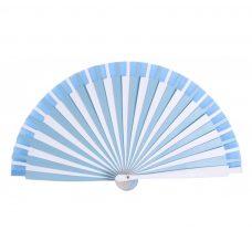 Abanico para regalar en bautizo, en color azul