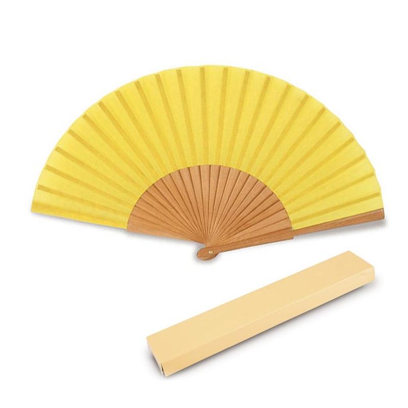 Abanico de madera lacada liso. Incluye cajita de cartón. Varios colores.