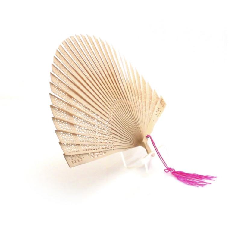 Abanico de madera natural para bodas, con borla y cajita blanca de regalo