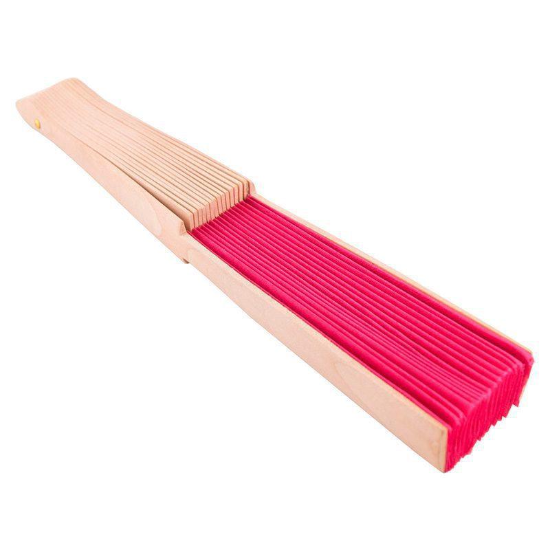 Abanico de madera natural para boda. Cuerpo de tela. Presentado en caja individual. 7 colores.