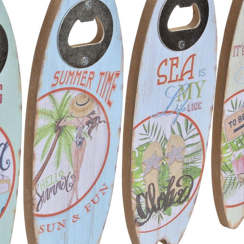 Abrebotellas de madera. Modelo aloha. 4 modelos. 7x20cm
