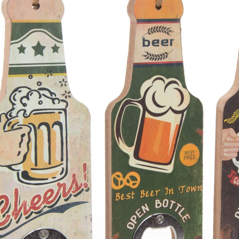 Abrebotellas de madera. Colección Beer. 4 modelos. 6,5x20cm