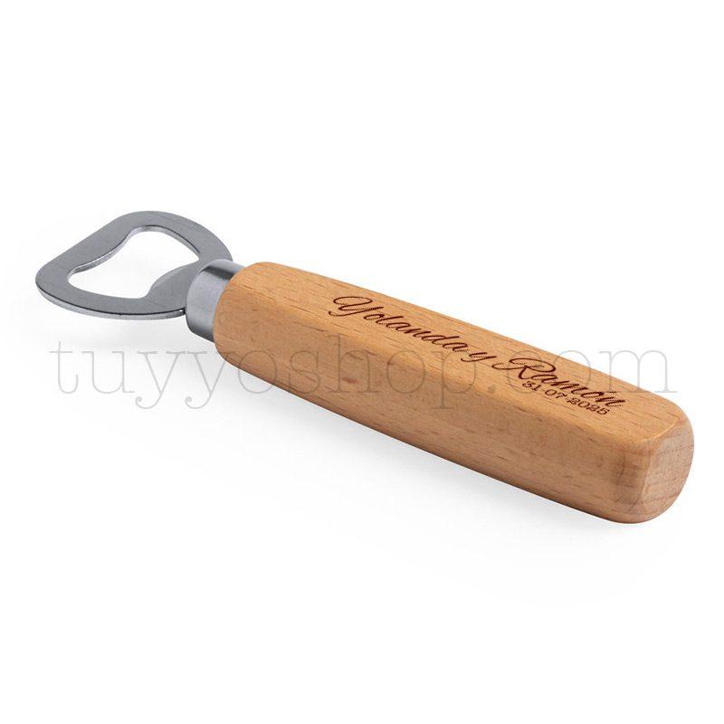 Abridor de madera de haya pulida, opción de grabado láser, 14,5x4cm abridor de madera personalizado para boda4