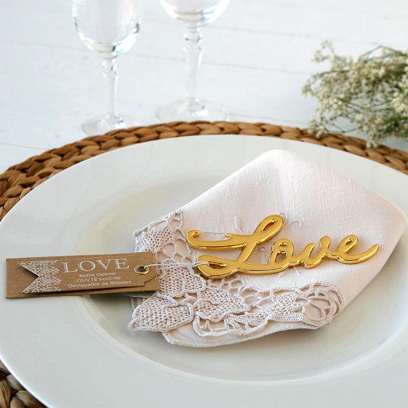 Abridor para boda. Palabra love. Dorado.