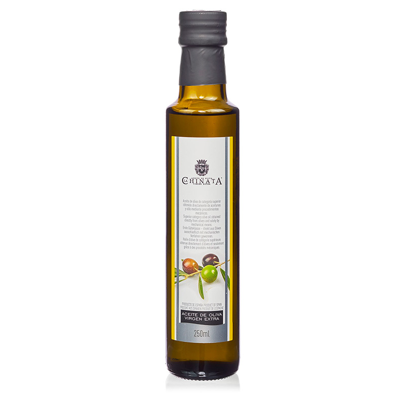 Botella aceite Oliva Virgen Extra. Cristal. 250ml.