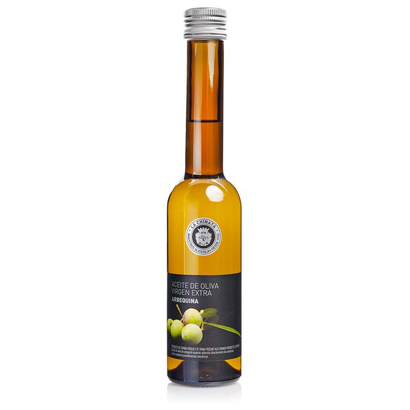 Botella de aceite monovarietal. AOVE. Arbequina. 250ml