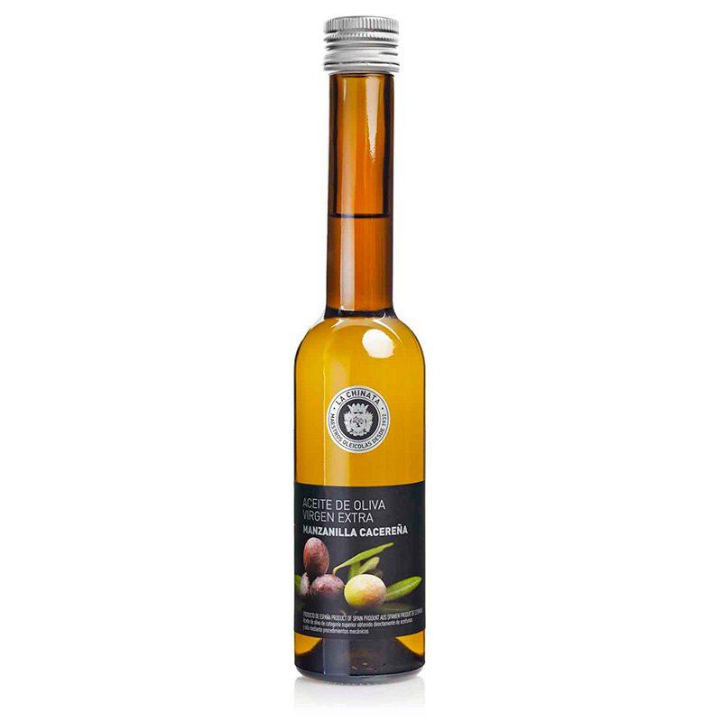 Botella de aceite monovarietal. AOVE. Manzanilla Cacereña. 250ml