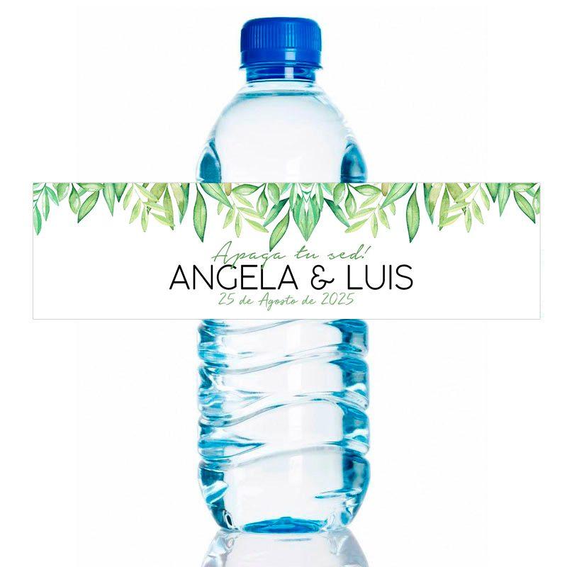 Etiqueta de boda adhesiva para botella de agua. Modelo Leaves. 20x5cm agua personalizada para boda leaves