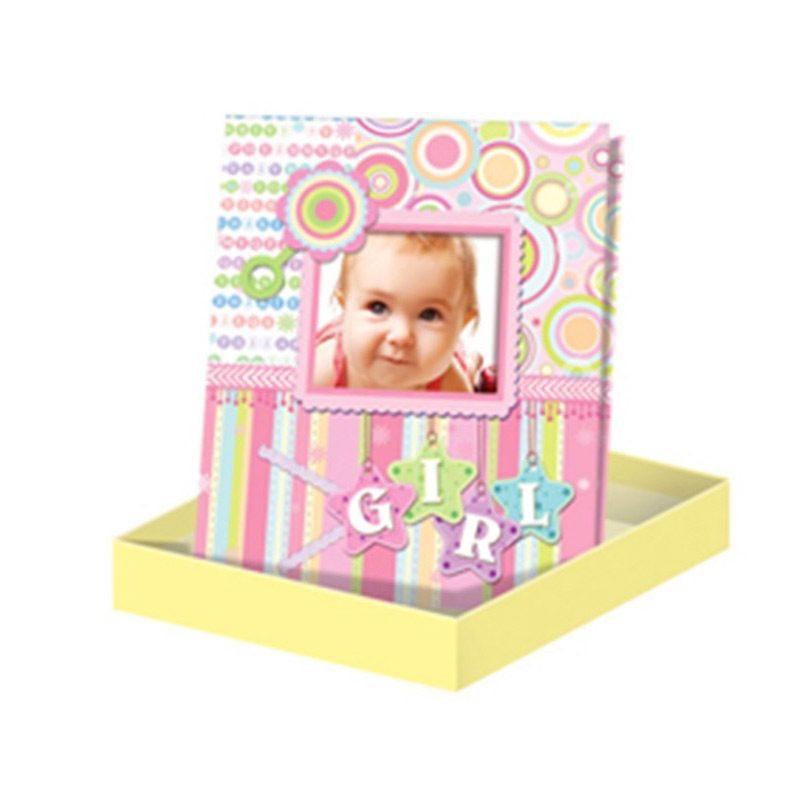 Album para bautizo, personalizable con foto. Color rosa.