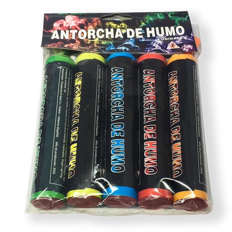 Pack de 5 antorchas de humo. 60 segundos. 5 colores.