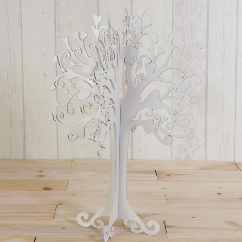 Árbol joyero buenos deseos. Madera en color blanco. 40cm.