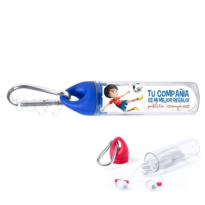 Auriculares con mosquetón, personalizados, modelo fútbol. Varios colores. auriculares comunion mosqueton futbol azul