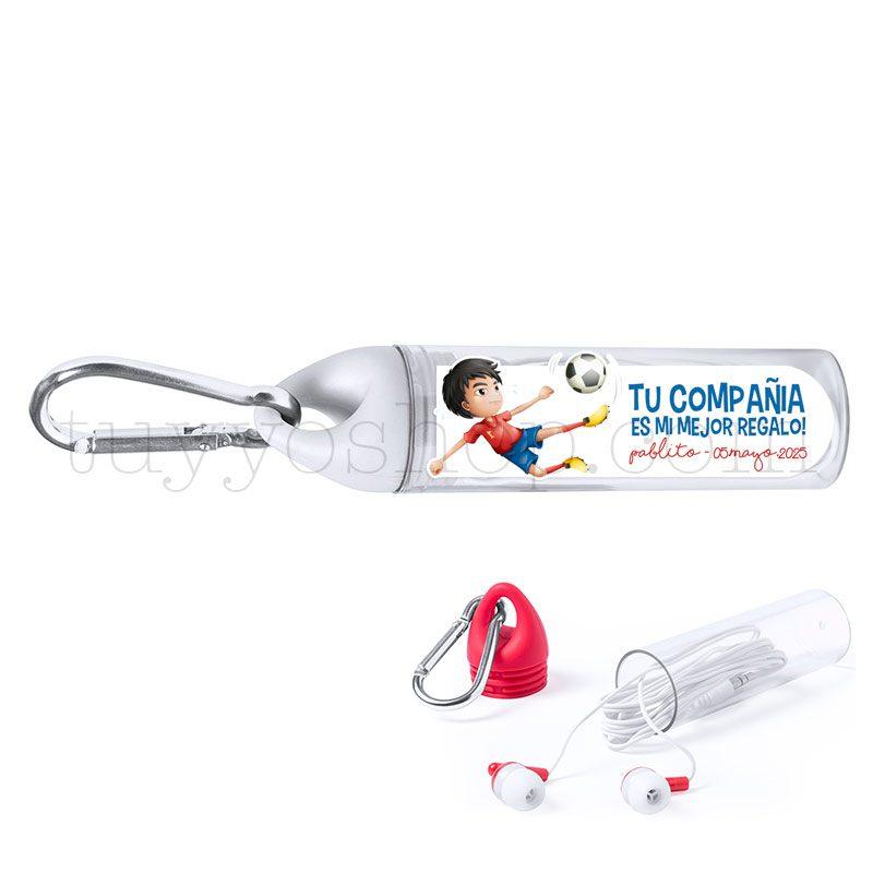 Auriculares con mosquetón, personalizados, modelo fútbol. Varios colores. auriculares comunion mosqueton futbol blanco