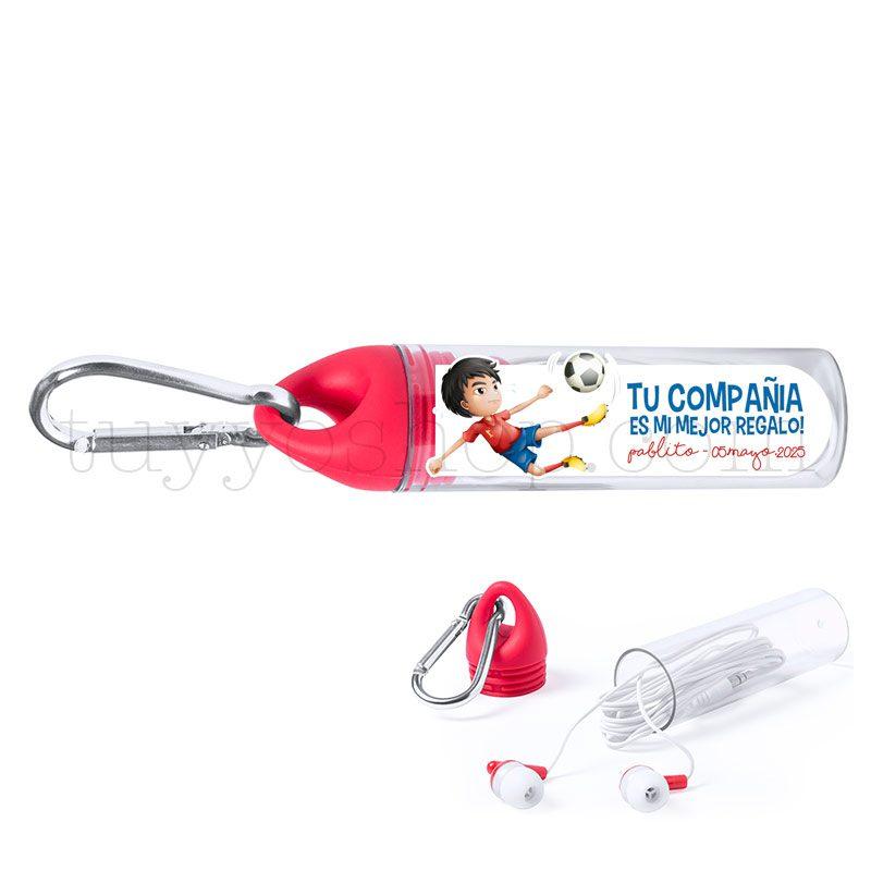 Auriculares con mosquetón, personalizados, modelo fútbol. Varios colores. auriculares comunion mosqueton futbol rojo