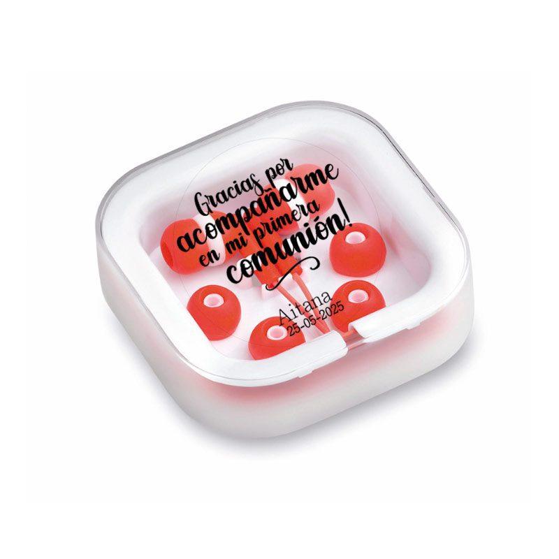 Auriculares para comunión personalizados. Gracias por acompañarme. Varios colores. auriculares personalizados comunion rojos