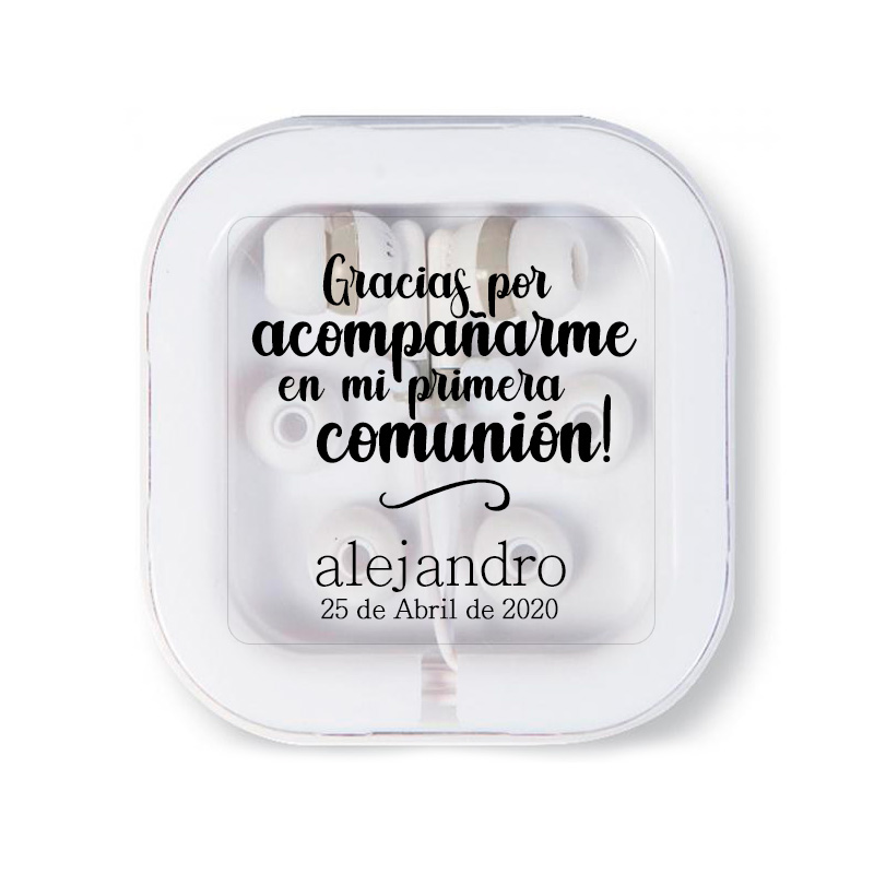 Auriculares para comunión personalizados. Gracias por acompañarme. Varios colores.