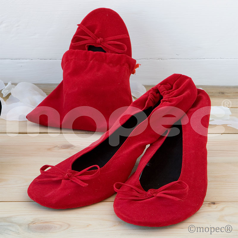 bailarinas enrollables para boda en color rojo