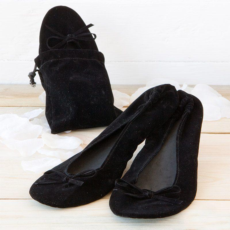 bailarina enrollable de terciopelo en color negro
