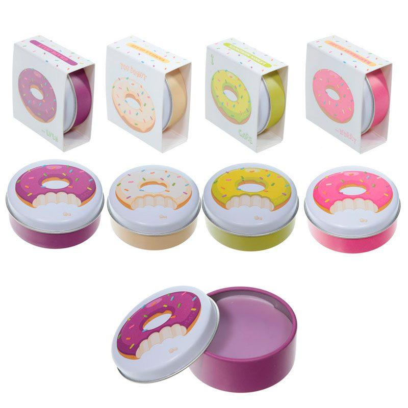 Brillo labial en latita. Modelo donuts. 4 modelos. Incluye cajita a juego