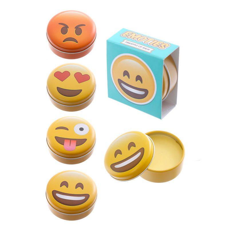 Brillo labial en latita. Modelo emoji. 4 modelos. Incluye cajita. 4,5cm