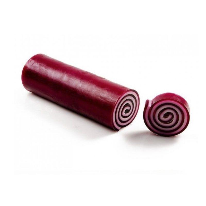 Barra de jabón enrollado de glicerina, frutos rojos.