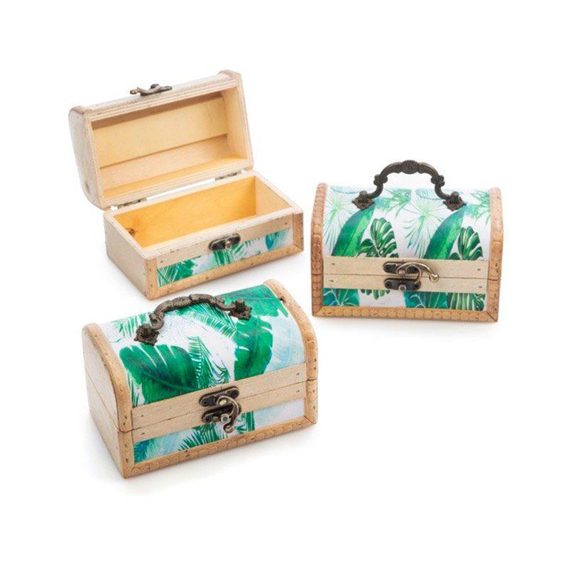 Ultimos regalos para invitados añadidos baul para boda modelo tropical