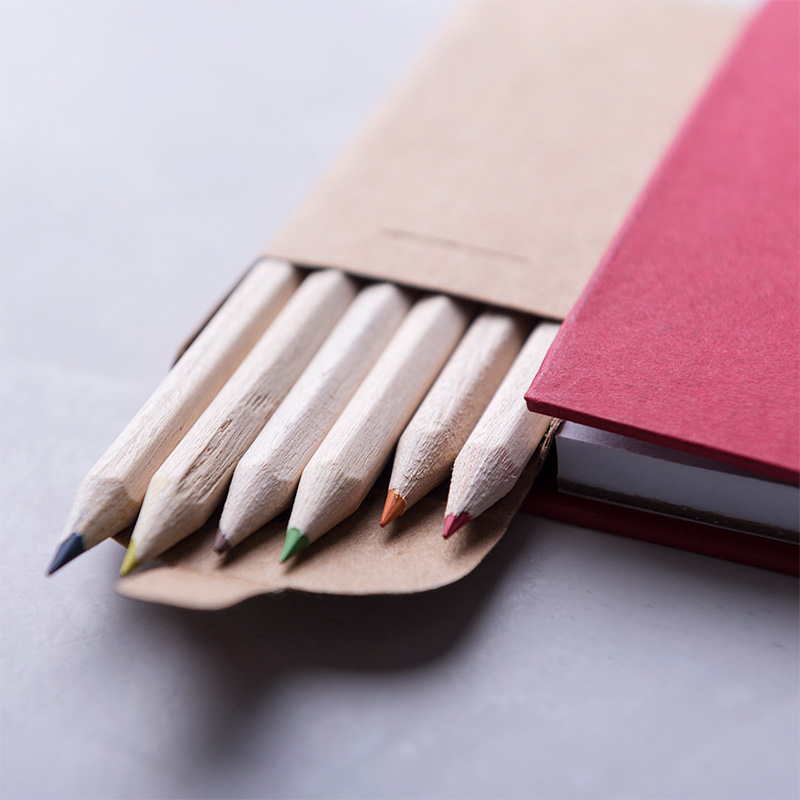 Bloc de Notas con caja de Lápices. 4 colores. bloc de notas con caja de lapices detalles de boda