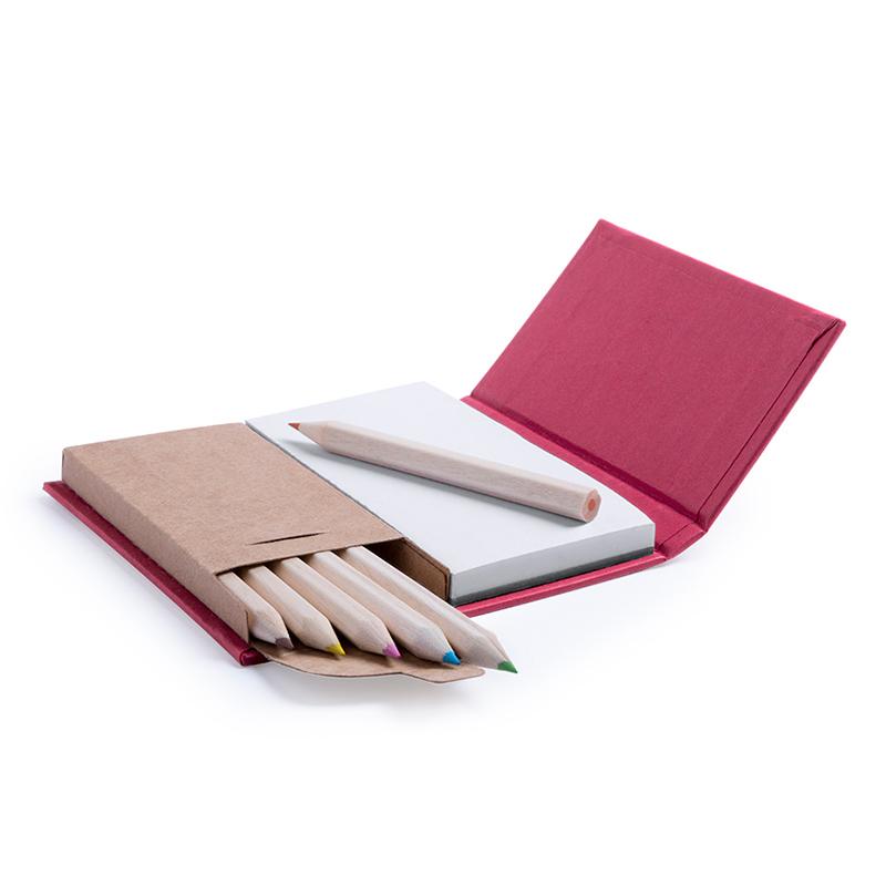 Bloc de Notas con caja de Lápices. 4 colores. bloc de notas con caja de lapices detalles de boda2