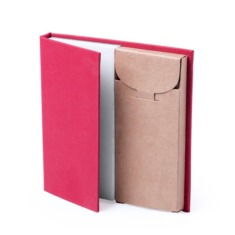 Bloc de Notas con caja de Lápices. 4 colores. bloc de notas con caja de lapices detalles de boda3