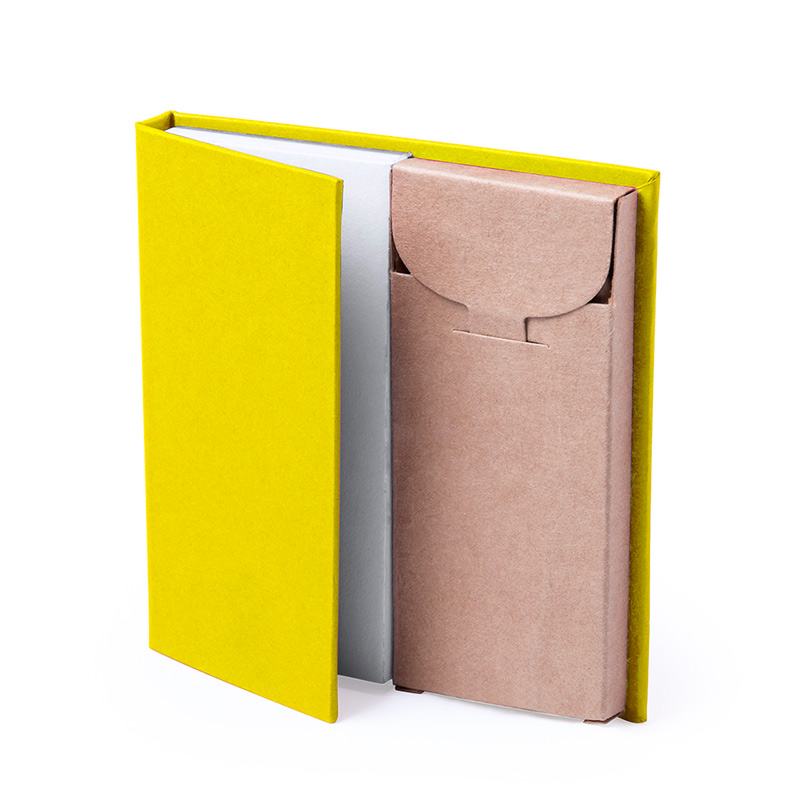 Bloc de Notas con caja de Lápices. 4 colores. bloc de notas con caja de lapices detalles de boda4
