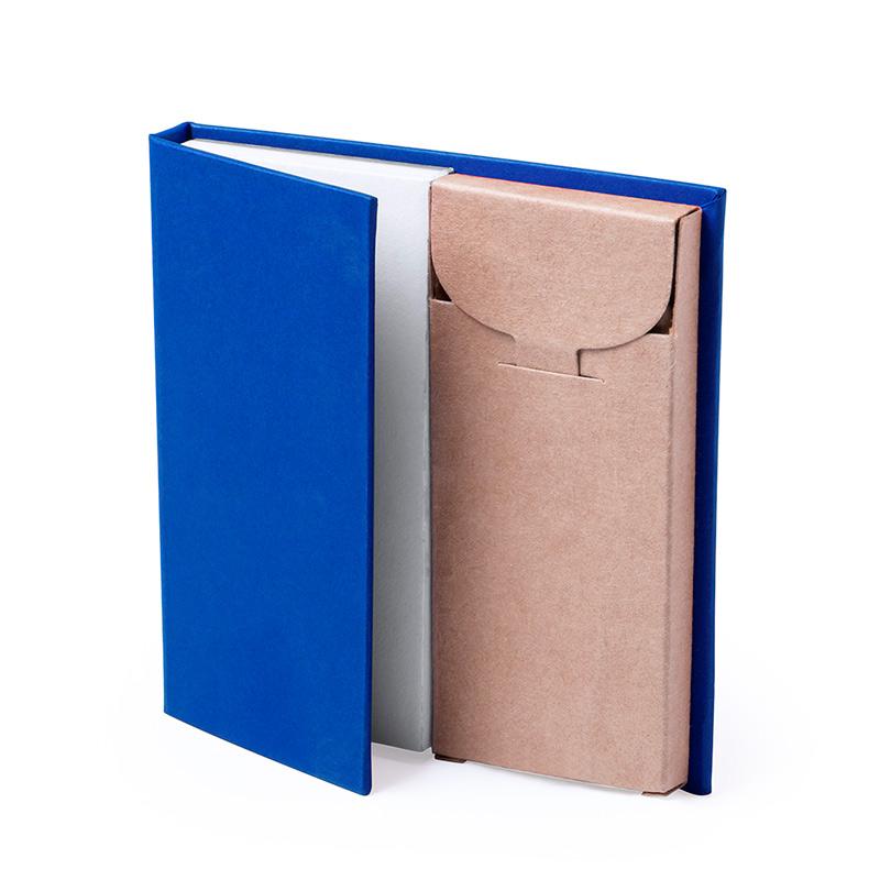 Bloc de Notas con caja de Lápices. 4 colores. bloc de notas con caja de lapices detalles de boda5