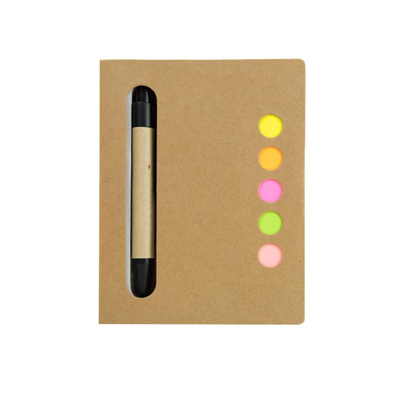 Bloc de notas de papel reciclado. Bolígrafo. Notas adhesivas.