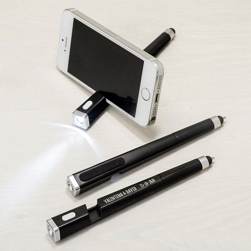 Bolígrafo linterna, puntero, borra huella y soporte. Grabación incluida.