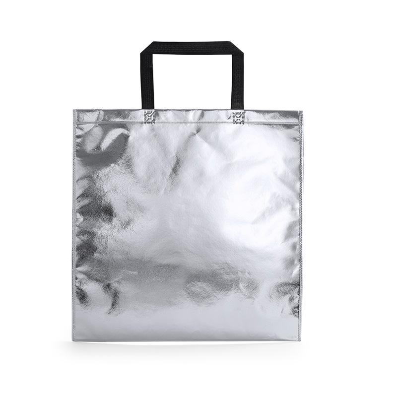Bolsa de la compra metalizada. 3 colores. 45x44cm. Asa.