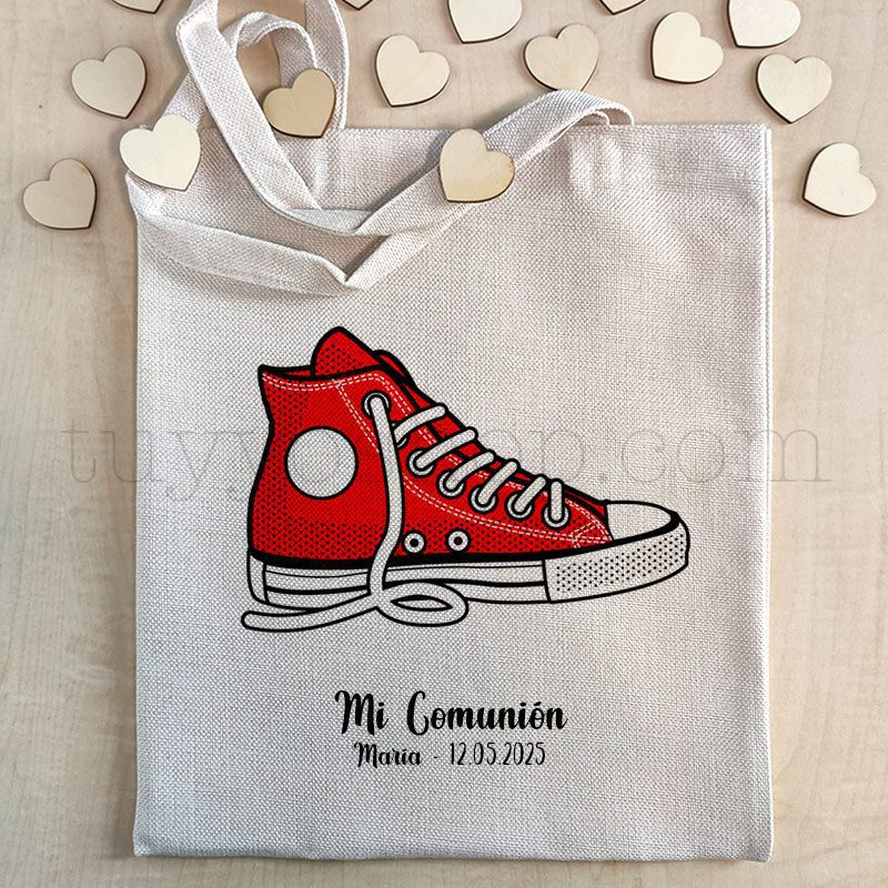 Bolsa personalizada para comunión. Modelo Zapatilla bolsa comunion tejido premium zapatilla