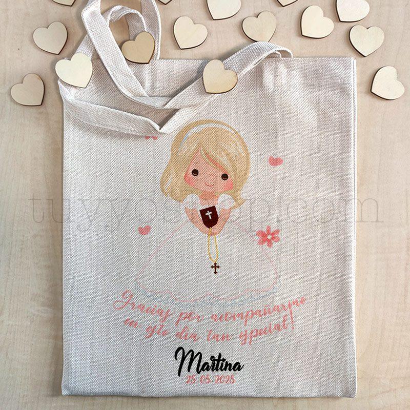 Ultimos regalos para invitados añadidos bolsa comunion woven chica rubia premium