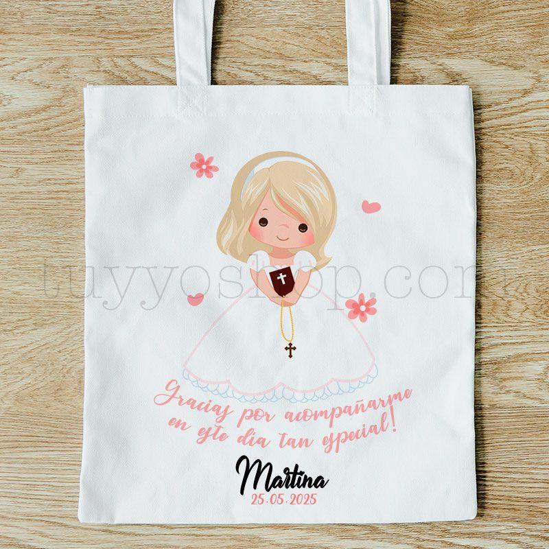 Ultimos regalos para invitados añadidos bolsa comunion woven chica rubia