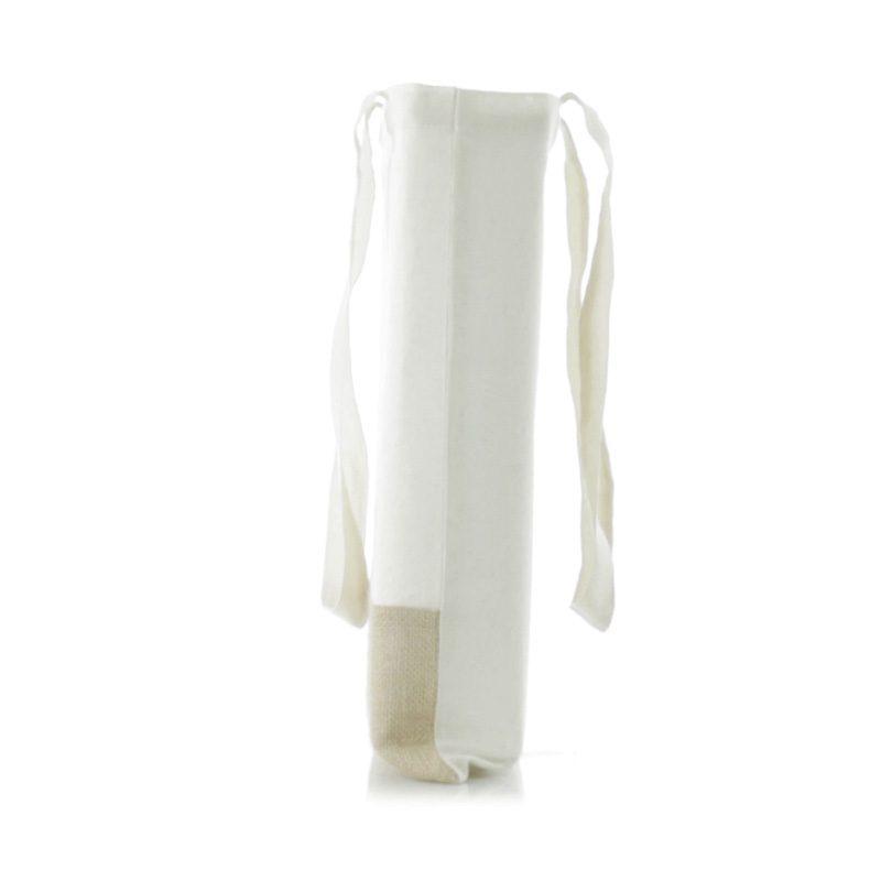 Bolsa ecológica bicolor de yute y algodón. bolsa con asas ecologica para boda 2