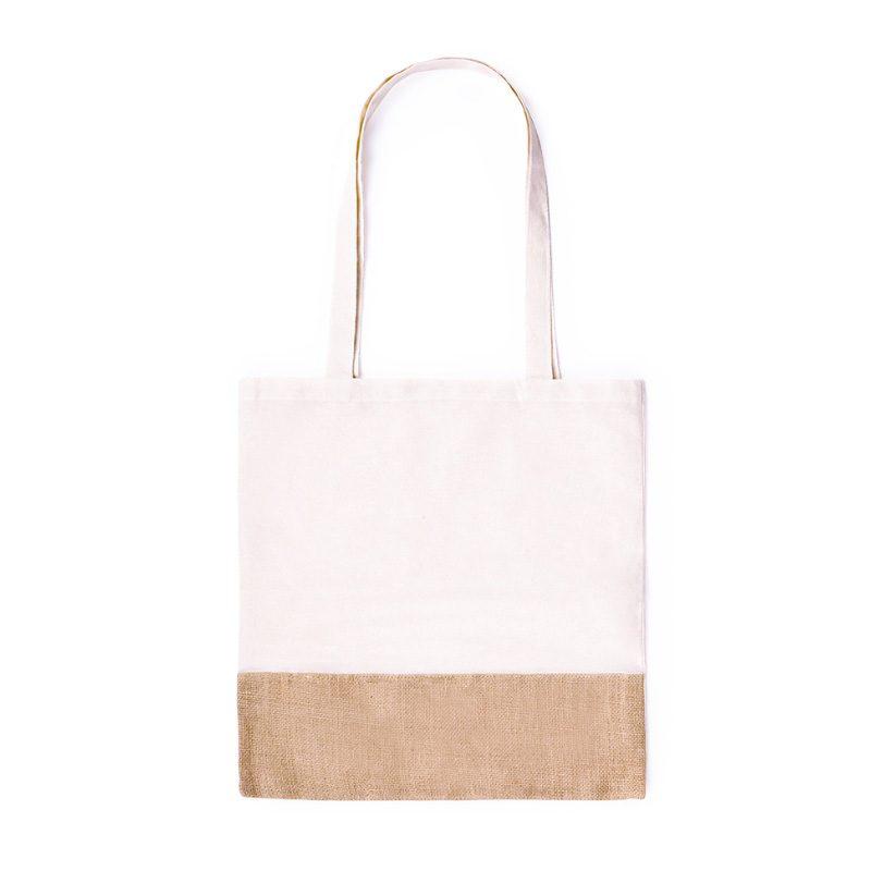 Bolsa ecológica bicolor de yute y algodón. bolsa con asas ecologica para boda