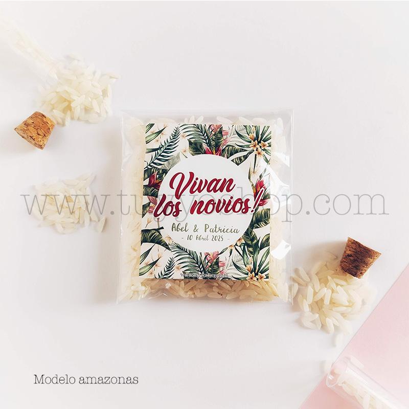 Bolsa para arroz de boda. Adhesivo cuadrado personalizable. Varios modelos. bolsa de arroz personalizada amazonas