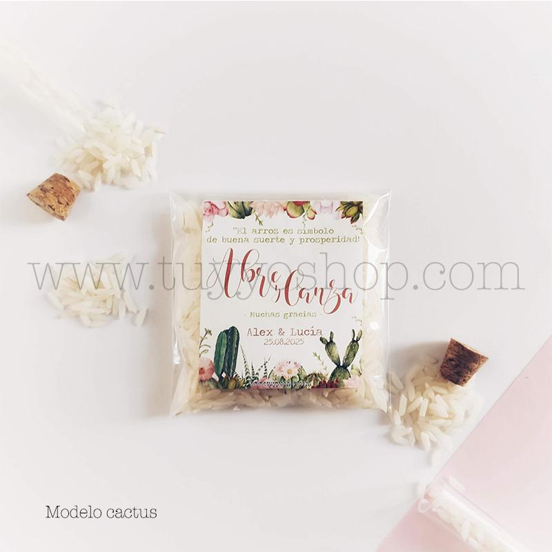 Bolsa para arroz de boda. Adhesivo cuadrado personalizable. Varios modelos. bolsa de arroz personalizada cactus
