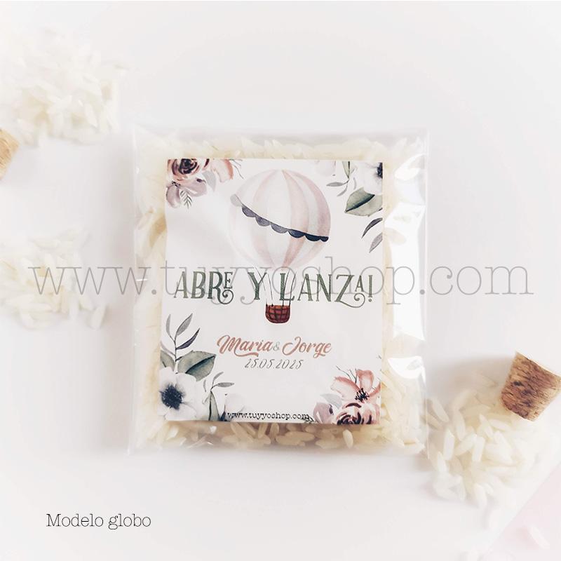 Bolsa para arroz de boda. Adhesivo cuadrado personalizable. Varios modelos. bolsa de arroz personalizada globo