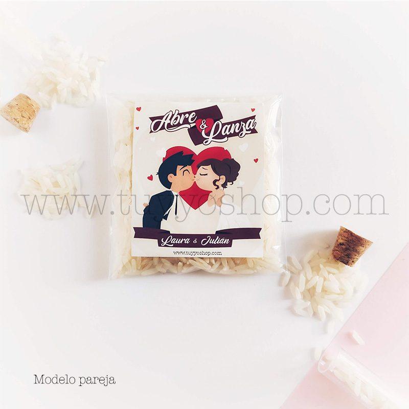 Bolsa para arroz de boda. Adhesivo cuadrado personalizable. Varios modelos. bolsa de arroz personalizada pareja