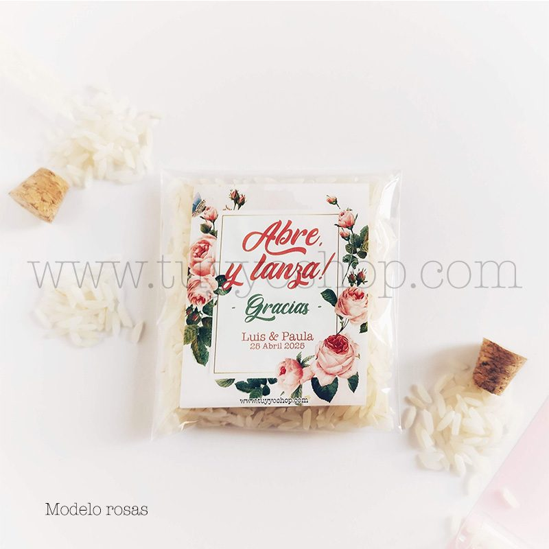 Bolsa para arroz de boda. Adhesivo cuadrado personalizable. Varios modelos. bolsa de arroz personalizada rosas